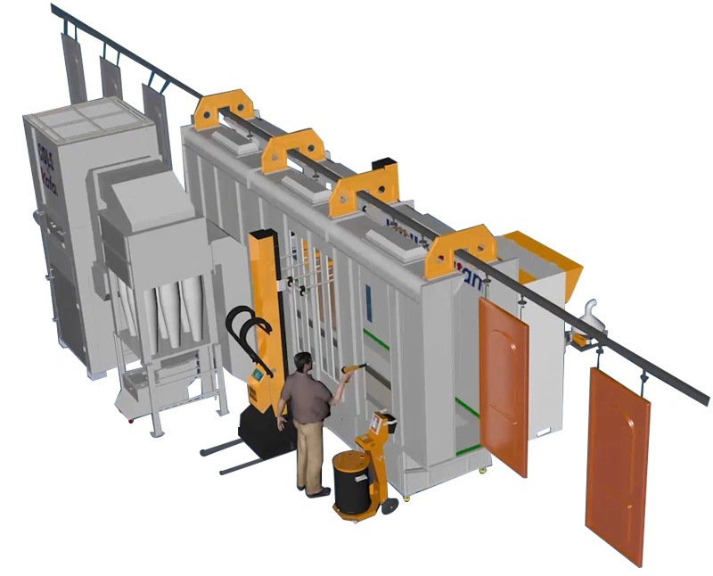 automatic powder coating spray cyclone booth for fast color change